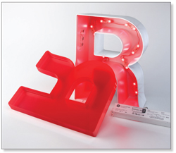 Injection Molded Channel Letter with LEDs illuminated letters - IMletterRwLEDs - Illuminated Letters