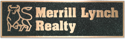 SIGN 2000 Cast Bronze Merrill Lynch Realty Plaque Emblems - MerrillLynch - Emblems